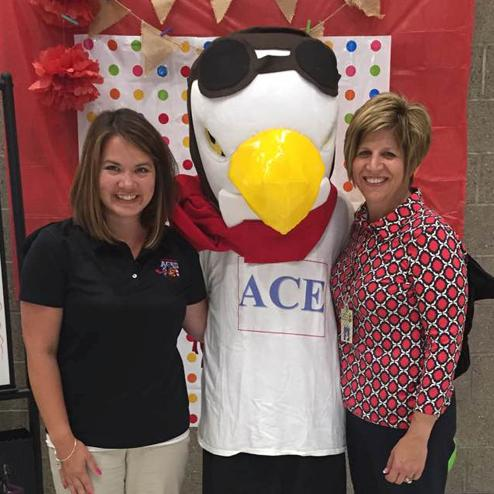 Ace the Mascot with Mrs. Lingle and Mrs. Milligan