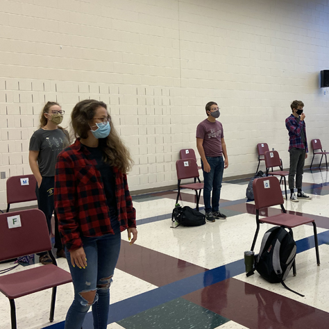 Choir students in masks