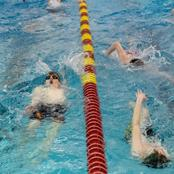 students swimming
