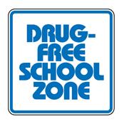 Graphic of the words: Drug Free School Zone